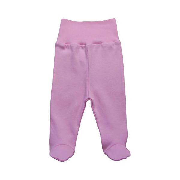 MEA BABY Pantalones unisex para bebé con pie de 100 % algodón en paquete de 5 unidades. Pelele con pie. 5