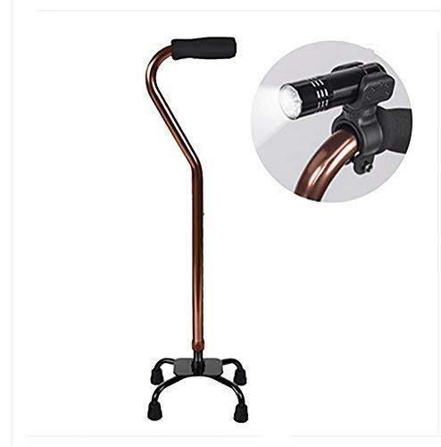 ZHAS Verstellbarer Leichter Quad Cane Walking Stick mit verstellbarem LED-Licht - Quad Cane Faltbare
