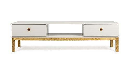 Tenzo Fresh Designer Banc TV avec 2 Tiroirs, Autre, Taupe Clair/Chêne, 169 x 49 x 46 cm