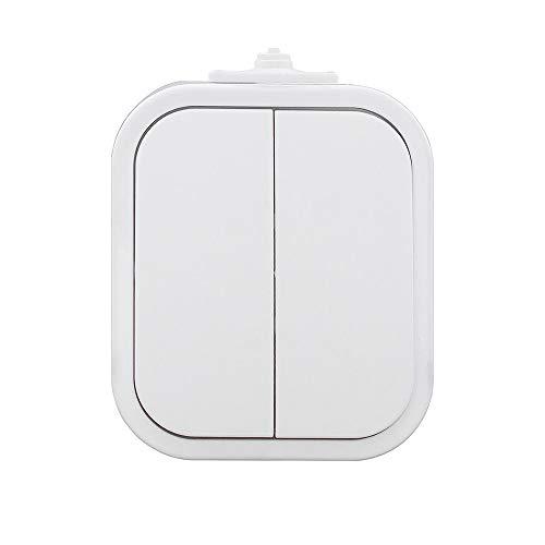 IP54 Aufputz Schuko Steckdose 1,2,3-fach Ein/Ausschalter Serienschalter Wechselschalter Taster Feuchtraum - Farbe Weiss (Serienschalter mit Beleuchtung)