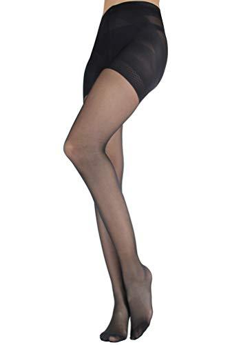 WOOTI Panty con Braga tipo faja efcto Push-up CONTADINA 20 den, color Negro, talla S, Elegante, Atractivo, Cómodo, resistente, contenitivo, Velado, Refinado