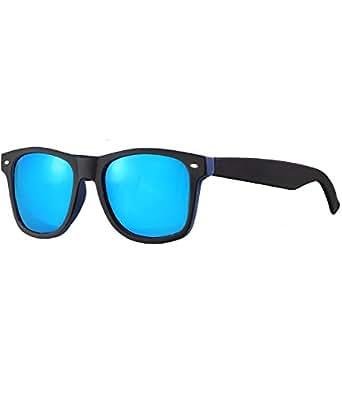 caripe Wayfarer Retro Nerd Vintage Sonnenbrille verspiegelt + getönt Damen Herren - SP-new (BJ0014 - schwarz-blau gummiert - blau verspiegelt)