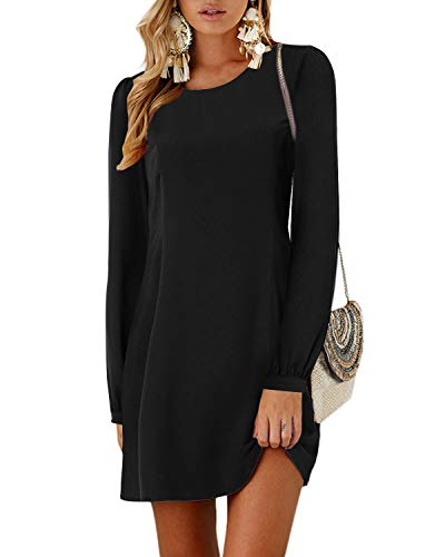YOINS Damen Kleider Tshirt Kleid Winterkleid für Damen Rundhals Brautkleid Langarm Minikleid Kleid Langes Shirt Lose Tunika mit Bowknot Ärmeln Langarm-schwarz M