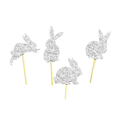 Qy-ninhao 4 pz/set buona pasqua simpatico metallic glitter polvere coniglio forma coniglietto torta scelte cupcake toppers decorazioni forniture bomboniere festa di compleanno