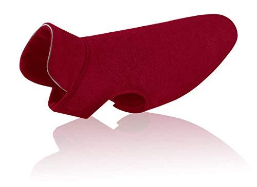 Tineer Reflektierende Hund Jacke Puppy Weiche Fleece Mäntel Herbst Winter Warm Reflektierende Mode Haustier Kleidung für Große Hunde (M, Wine Red) -