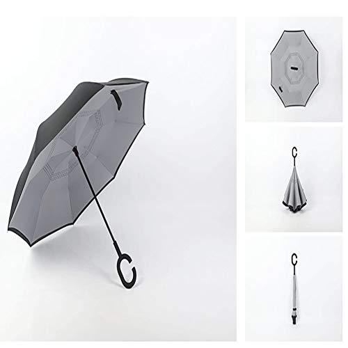 WLL Regenschirm, umgedreht/reversibel, Langer winddichter Regenschirm, doppelte Innen- und Außenselbstständigkeit, C-förmiger Griff und Tragetasche, ausgefallener Regenschirm,Chrome - Kleiner Chrome-rahmen