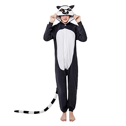 Für Kostüm Erwachsene Lemur - LPATTERN Erwachsene Damen/Herren Cartoon Kostüm- Jumpsuit Overall Schlafanzug Pyjamas Einteiler, Schwatz Lemuren, M für Körpergröße 158-168CM