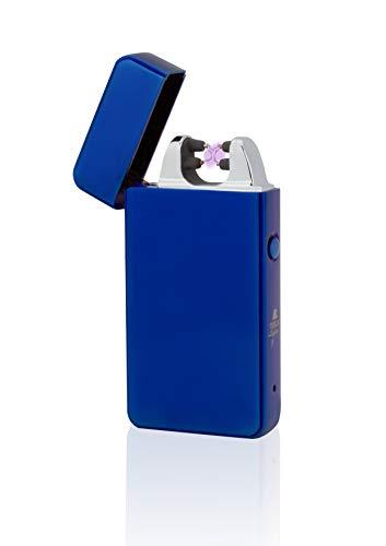 TESLA Lighter T11 Lichtbogen Feuerzeug, Plasma Double-Arc, elektronisch wiederaufladbar, aufladbar mit Strom per USB, ohne Gas und Benzin, mit Ladekabel, in Edler Geschenkverpackung, Blau