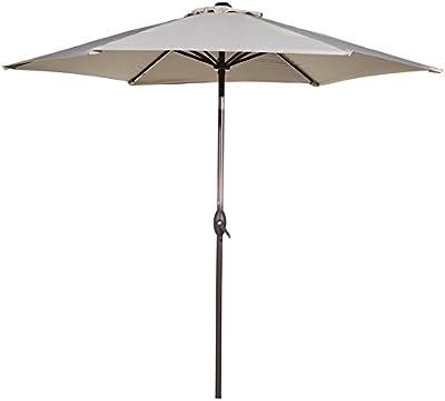 Abba Patio Sombrilla parasol para patio, jardín o terraza de Ø 275 cm, de aluminio con botón de inclinación y manivela, Beige