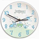 Personalised Whimsical Train Clock - A Perfect Gift For Christening Boy, Baby & Children, Kids, Boys - With Free Personalisation