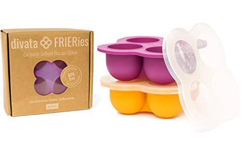 divata Eiswürfelform mit Deckel, 2er Set FRIERies, Beere/Orange - Silikon Gefrierform | Nahrung Einfrieren, z.b. Babybrei, Gewürze, Muttermilch