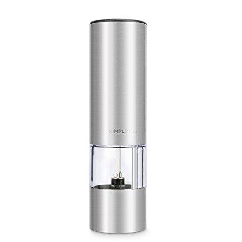 SIMPLETASTE Elektrische Salz und Pfeffermühle, mit Einstellbarem Keramikmahlwerk, Edelstahl Salzmühle Gewürzmühle mit Sichtfenster (1 er)