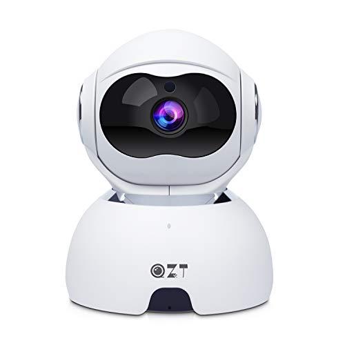 QZT Telecamera IP, Telecamera di Sorveglianza Domestica WiFi 1080P HD con Visione Notturna, Audio bidirezionale, Motion Detection, Telecamera Da Interni per Monitorare Anziani, Bambini e Animali