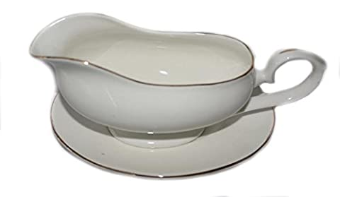 Bone china WHITE AND GOLD EDGED GRAVY BOAT AND STAND-