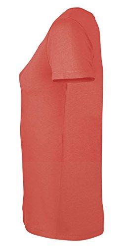 Lara Modal, Damen T-Shirt aus 50% Bio-Baumwolle und 50% Modal mit weitem Ausschnitt Hot Coral