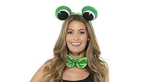 shoperama Set Frosch-Augen Haarreifen mit Fliege Grün Froschkönig Froschkönigin Märchen Kostüm-Zubehör Damen Herren