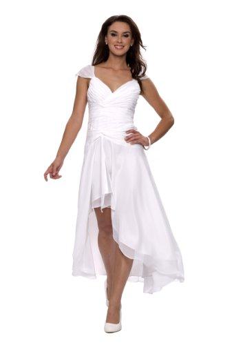Astrapahl Damen Cocktail Kleid mit schönen Raffungen, Knielang, Einfarbig, Gr. 44, Weiß