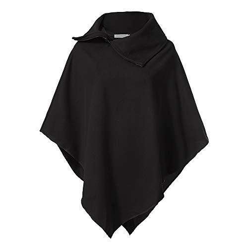 IZHH Damen Mantel Frauen Winter Reißverschluss Revers Lose Einfarbig Unregelmäßigen Haarigen Hemd Mantel Mantel Outdoor Party Leistung Bühne Tragen(Schwarz,XX-Large)