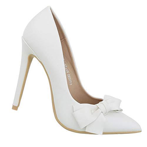 Damen Schuhe Pumps High Heels Weiß 38