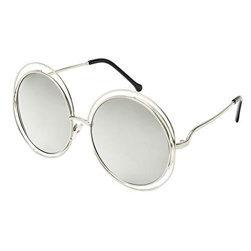 DWSYDA Round Wire Frame Sonnenbrillen Frauen Spiegel Gradient Brillen Shades Übergroße Brillen,4