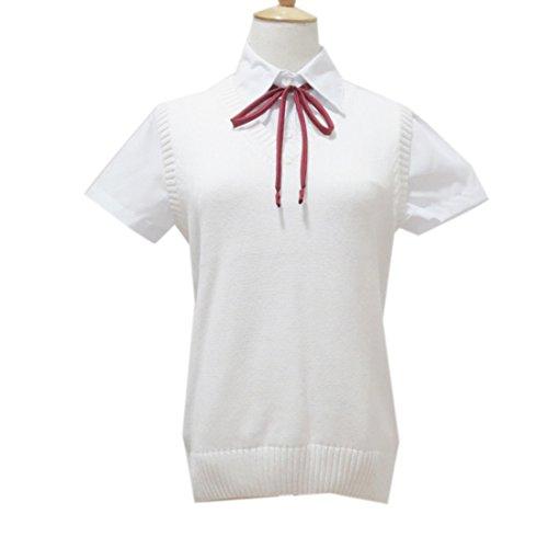 QIYUN.Z Les Femmes Sans Manches V Cou Coton Nouage Tete Uniformes ecolieres Jk Gilets Ivoire