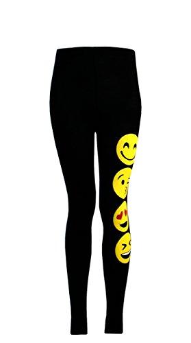 Chicas T- Shirts Y Polainas Emoji Emoticonos Caras Sonrientes Pantalones Elástico Bottoms Niños Edad Nueva 7 9 11 13 años