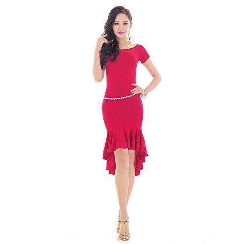 Byjia Lotus Leaf Asymmetrischem Saum Falten Latin Dance Kleid . 2 . Xl (Kleidung Schule, Falten-shorts)