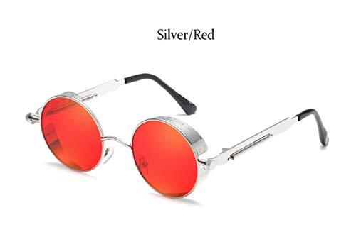 Cranky Orange Steampunk Sonnenbrille Herren Damen Fashion Designer Gothic Brille Metallrahmen Runde Vintage Sonnenbrille für Herren Punk Modis, Silber Rot