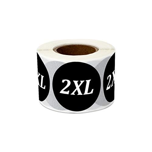 officesmartlabels Kleidung Größe rund XXS schwarz 3,2x 3,2cm Aufkleber Etiketten 1 Roll 2xl Black