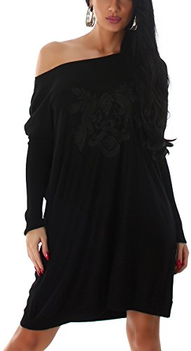 Jela London Oversize Wellness Feinstrick Pullover Stickerei Ornament Muster, Schwarz -
