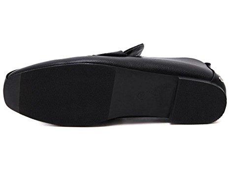 GLTER Pattini piani delle donne dei pattini casuali dello slip-on Rivet tacco basso Scarpe quadrati Mules Scarpe Nero Court scarpe chiuse Pompe Nero Bianco Black