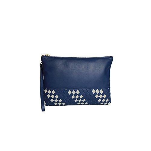 Eastern Counties Leather Damenclutch Carmen mit Webedekor Blau/Grau