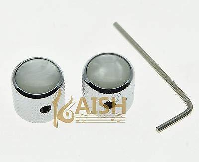 FidgetGear 2 Stück Wiith Screw Pearl Top Chrome Guitar Dome Knobs for Telecaster Bass Knob