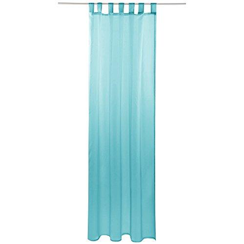 Gardine mit Schlaufen, Transparent Voile 140 x 245cm ( Breite x Länge ) in türkis - aqua, Schlaufenschal in vielen weiteren Farben und Größen
