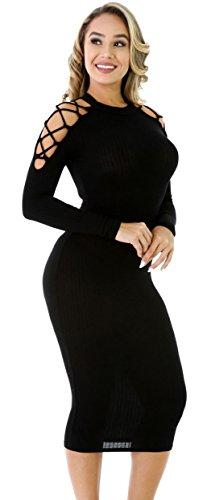 EOZY Femme Robe Longue Tricot Epaule Hanche Moulante Cocktail Noir