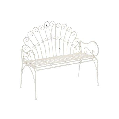 miaVILLA Gartenbank Fernanda - 2-Sitzer Bank - Shabby Chic - Metall - Antik Weiß - ca. B108 x T58 x H96 cm