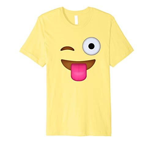 Zunge Out Emoji-Gesicht mit Blinzelnde Eye Kostüm ()