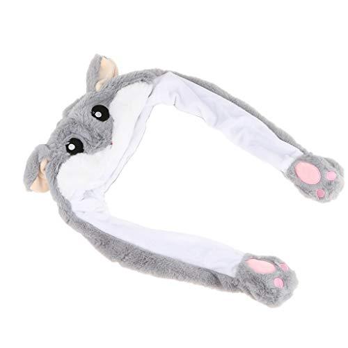 B Blesiya Niedliche Tiermütze Plüsch Hut Kappe Halloween Mütze, Tier Ohr Sich bewegen kann, mit Airbag-Kappe - Hamster