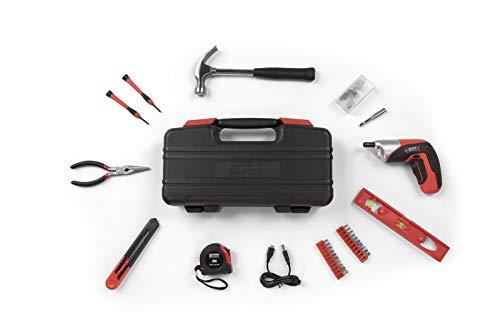 WOLFGANG 73 Teile Werkzeugkoffer mit Werkzeug Set, Akkuschrauber 3,6 Volt mit Bitsatz, Hammer, Zange, Wasserwaage etc, Grundausstattung für Haushalt, Auto, Werkstatt, Werkzeugkasten gefüllt