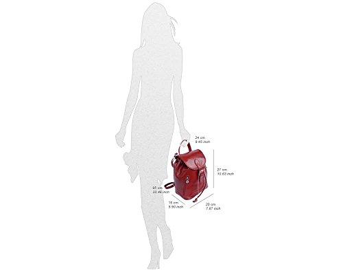Tasche Rucksack in glänzend und pflanzlich gegerbtem Leder (klein) aus Italien Schwarz