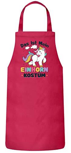 (ShirtStreet lustige Karneval Gruppen Paar Verkleidung Frauen Herren Barbecue Baumwoll Grillschürze Kochschürze Fasching - Einhorn Kostüm, Größe: onesize,Pink)