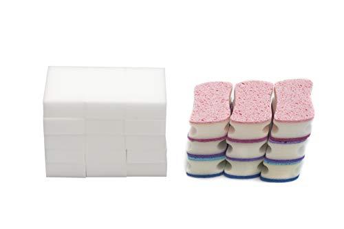 LTWHOME 10 x 5 x 4cm Double Face Éponge de Nettoyage Multifonctions et Melamine Mousse éponge (Paquet de 35)