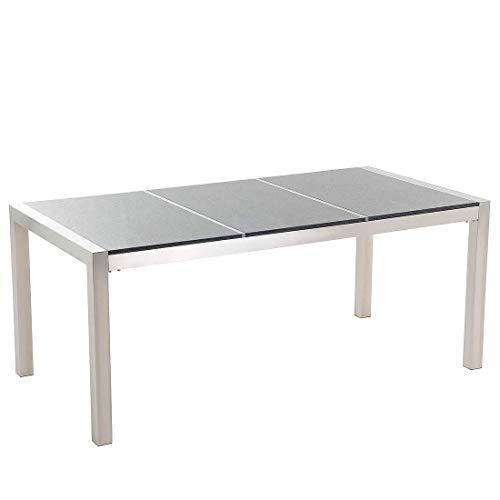 Beliani Gartentisch Edelstahl/Granit grau poliert 180 x 90 cm GROSSETO