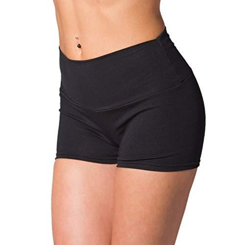 Alkato Damen Sport Shorts mit Hohem Bund Hotpants, Farbe: Schwarz, Größe: 36