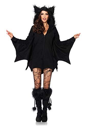 LEG AVENUE 85311 - Cozy Bat Kostüm, Größe L, schwarz, Damen Karneval Kostüm Fasching (Fledermaus Gemütlich Für Erwachsenen Kostüm)