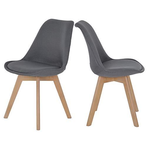 colourliving Lot de 2 chaises de Cuisine au Design rétro Anthracite avec Rembourrage en Textile et Pieds de Chaise en Bois Massif