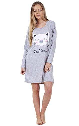 BHS Ladies Printed Cotton Nightdress Womens Long Sleeve Cami Nightie