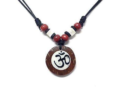 Ohm OM de noix de coco bois collier pendentif fait à la main Style hawaïen Beach Boy Yoga méditation réglable