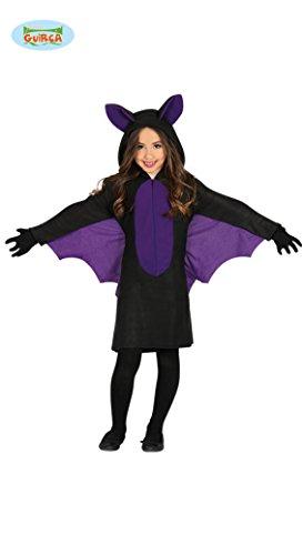 Guirca Fledermaus Kostüm mit Flügeln für Mädchen Kinder Halloween swarz lila Kleid Gr. 98-146, (Blutsauger Kind Kostüm)
