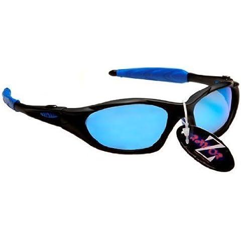 Rayzor profesionales ligeros negros UV400 Deportes Wrap ciclismo Gafas de sol, con un anti-deslumbramiento de lente de espejo azul Iridium Revo